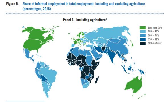 Ilo économie informelle monde map